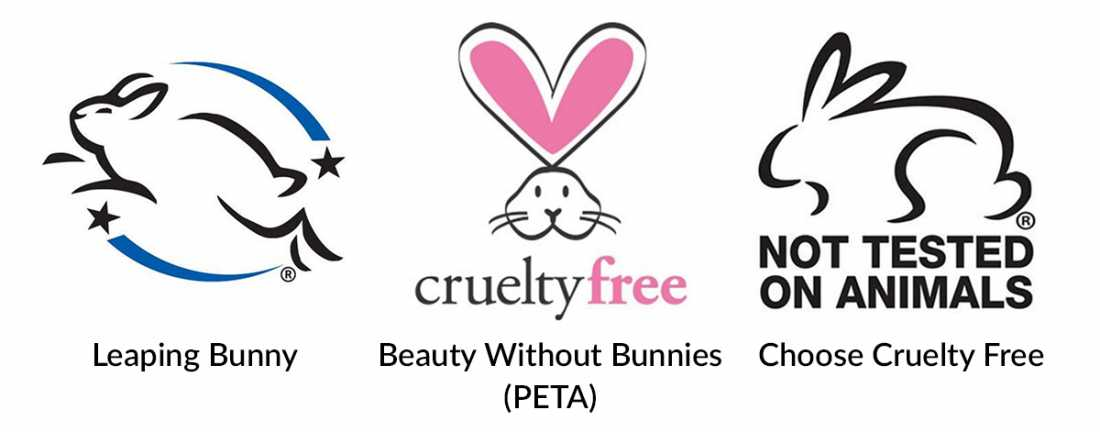 Les 3 logos sans cruauté officiels (Leaping Bunny, Beauty Without Bunnies, Choose Cruelty Free)